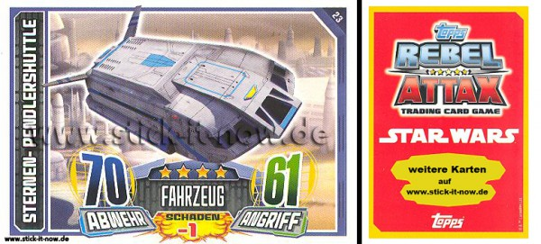 Rebel Attax - Serie 1 (2015) - STERNEN-PENDLERSHUTTLE - Nr. 23