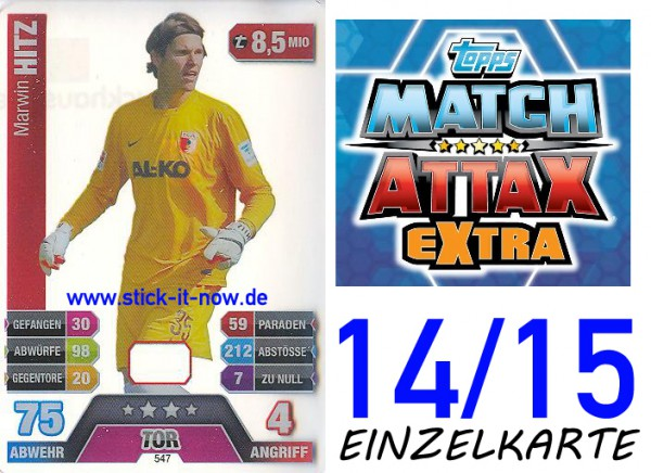 Match Attax 14/15 EXTRA - Marvin HITZ - FC Augsburg - Nr. 547 (CAP-KARTE)