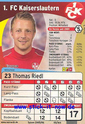 SocCards 05/06 - 1. FC K'lautern - Thomas Riedl - Nr. 115/164