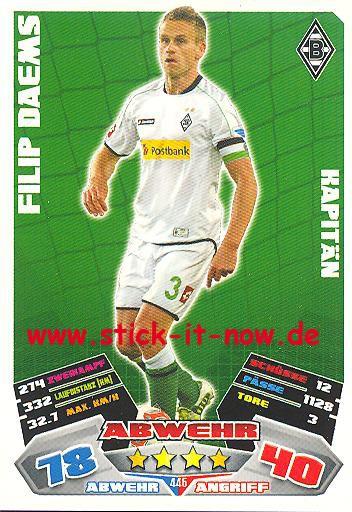 Match Attax 12/13 EXTRA - Filip Daems - Bor. M'gladbach - KAPITÄN - Nr. 445