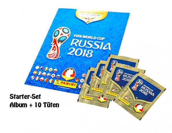 "Panini WM 2018 Russland ""Sticker"" - Starter-Set (Album + 10 Tüten)"