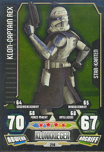 Force Attax - Serie 3 - STAR KARTE - Klon-Captain Rex - Nr. 214