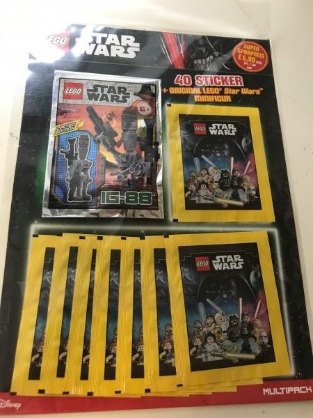 "Lego Star Wars ""Sticker-Serie"" (2020) - Multipack 1 ( 8 Tüten + Lego-Figur IG-88 )"