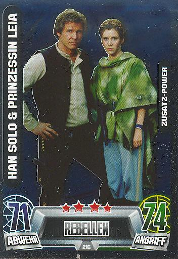 Force Attax Movie Collection - Serie 2 - Zusatz-Power - Han Solo & Prinzessin Leia - Nr. 216