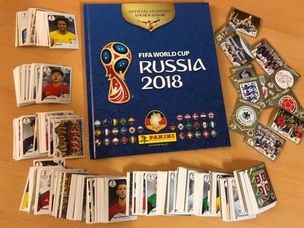 "Panini WM 2018 Russland ""Sticker"" - Komplettsatz ( alle 682 Sticker + HARDCOVER Album )"