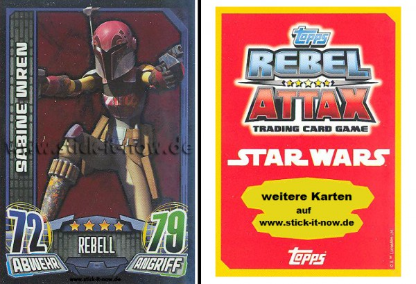 Rebel Attax - Serie 1 (2015) - SABINE WREN - Nr. 142 ( Spiegelfolienkarte )
