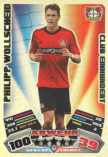 Match Attax 12/13 - Club 100 - Philipp Wollscheid - Bayer Leverkusen - Nr. 356