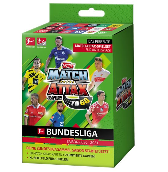 Topps Match Attax Bundesliga 2020/21 - TO-GO BOX ( 28 Karten + 2 Limitierte Karten )