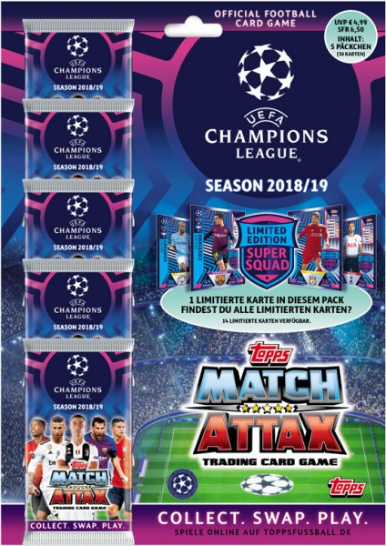 Match Attax Champions League 18/19 - Multipack (5 Booster incl. 1 Limited Edition Card)