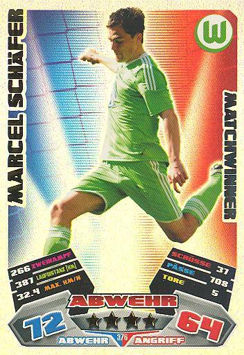 Match Attax 12/13 - Matchwinner - Marcel Schäfer - VfL Wolfsburg - Nr. 376