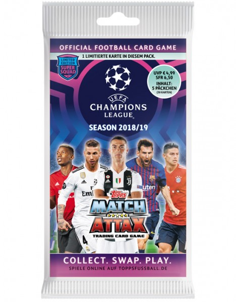 Match Attax Champions League 18/19 - Blister (5 Booster incl. 1 Limited Edition Card)