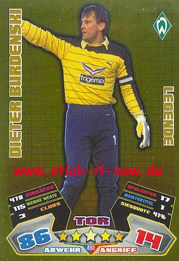 Match Attax 12/13 EXTRA - Dieter Burdenski - Werder Bremen - LEGENDE - Nr. 493