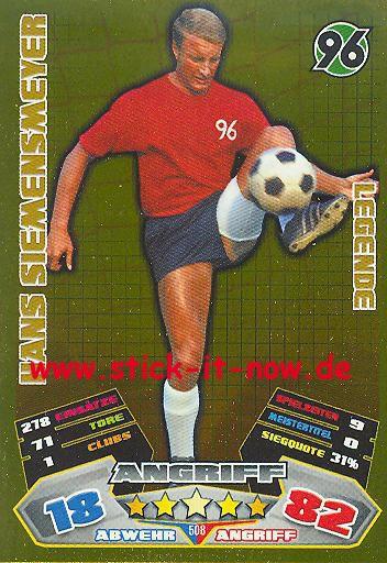 Match Attax 12/13 EXTRA - Hans Siemensmeyer - Hannover 96 - LEGENDE - Nr. 508