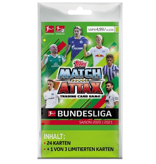 Topps Match Attax Bundesliga 2020/21 - Blister ( 24 Karten + 1 von 3 Limitierte Karten )