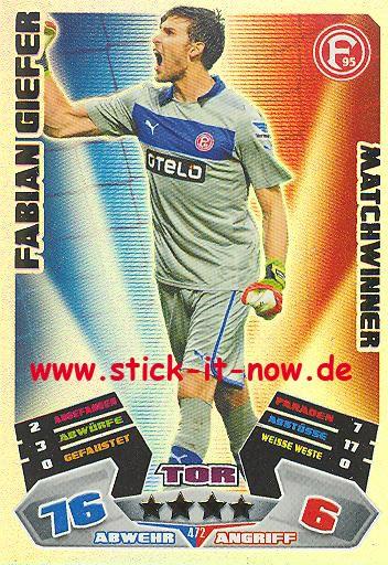 Match Attax 12/13 EXTRA - Fabian Giefer - Fortuna Düsseldorf - MATCHWINNER - Nr. 472