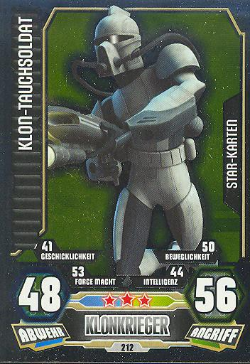 Star Wars Karte.Force Attax Serie 3 Star Karte Klon Tauchsoldat Nr 212