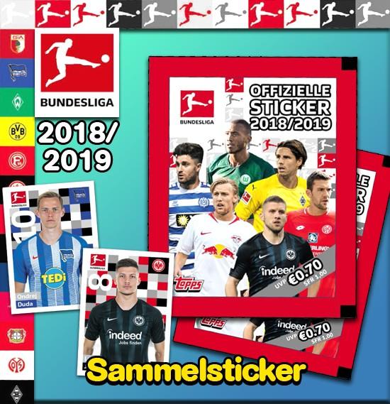 """Topps Fußball Bundesliga 18/19 """"Sticker"""" (2019) - Stickertüte (5 Sticker)"""