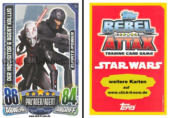 Rebel Attax - Serie 1 (2015) - DER INQUISITOR & AGENT KALLUS - Nr. 77