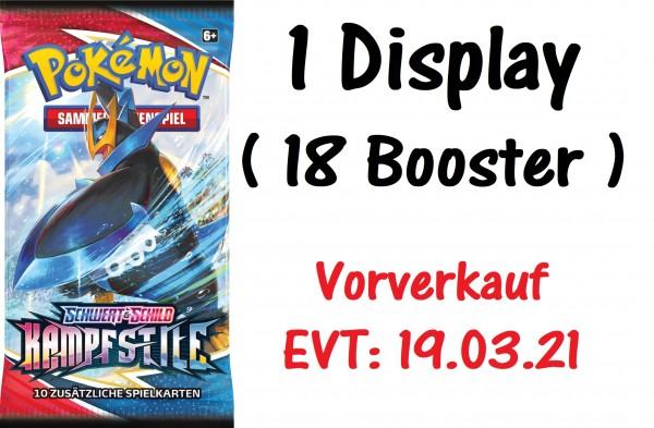 Pokémon - Schwert & Schild - Kampfstile - 1 Display (18 Booster) ( Vorverkauf! EVT: 19.03.21 )