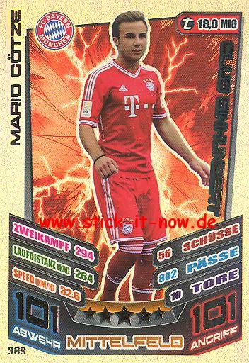Match Attax 13/14 - Bayern München - Mario Götze - Club 100 - Nr. 365