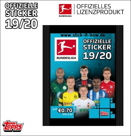 """Topps Fußball Bundesliga 2019/20 """"Sticker"""" (2019) - Stickertüte (5 Sticker)"""