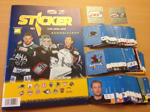 "DEL - Deutsche Eishockey Liga 18/19 ""Sticker"" - komplettsatz ( alle Sticker lose + Album )"
