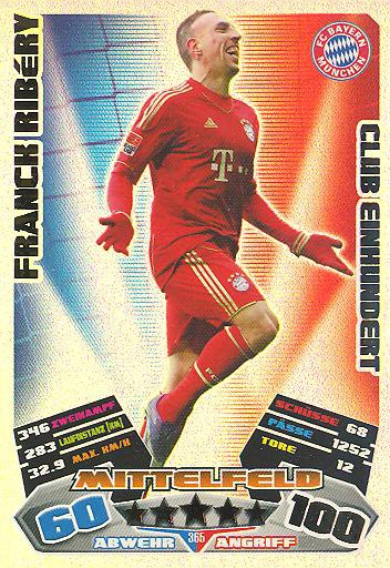 Match Attax 12/13 - Club 100 - Franck Ribéry - Bayern München - Nr. 365