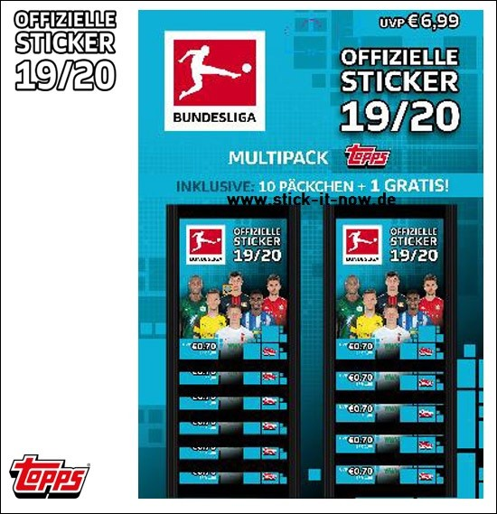 "Topps Fußball Bundesliga 2019/20 ""Sticker"" (2019) - Multipack (10 Tüten + 1 Gratis)"