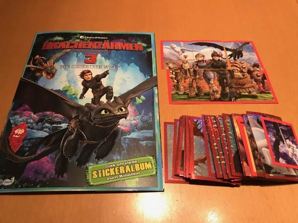 """Dragons 3 """"Die geheime Welt"""" (2019) - komplettsatz ( alle 182 Sticker + Album )"""