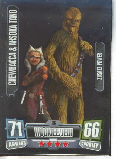 Wookie//Jedi Zusatz-Power CHEWBACCA /& AHSOOKA TANO Force Attax Serie 2 216